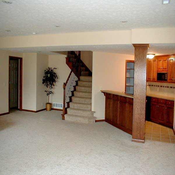 A simple basement remodel with an added bar