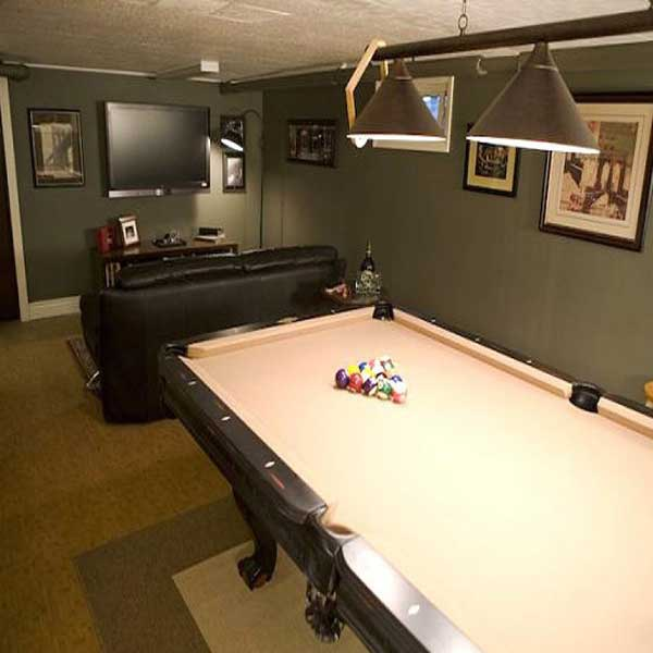New custom lighting to complement a billiard table